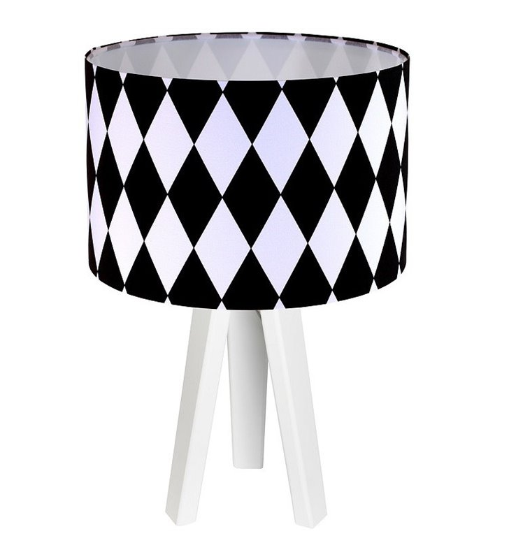 Biało czarna lampa stołowa nocna Diamante w romby abażur bawełna