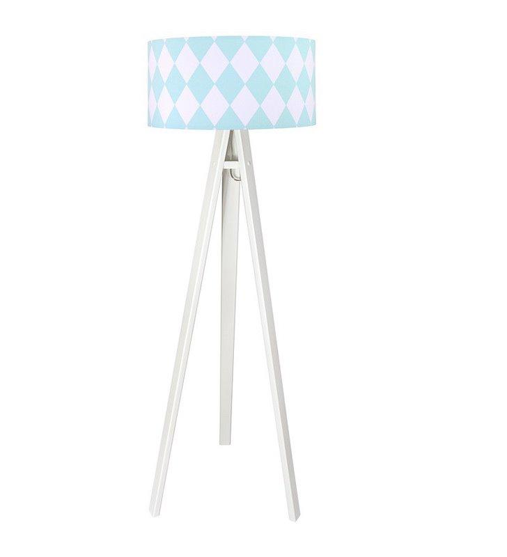 Lampa stojąca w biało turkusowe romby Diamante na białym trójnogu abażur z bawełny