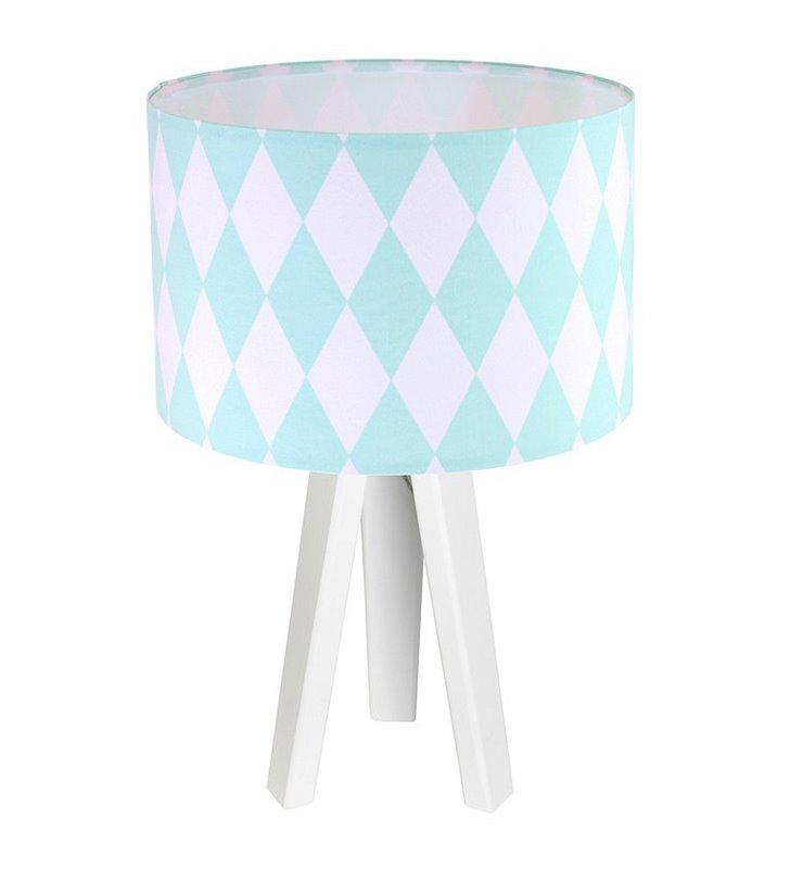 Biało turkusowa lampa stołowa nocna Diamante romby abażur bawełna do salonu sypialni pokoju dziecka nastolatka