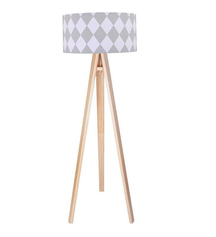 Lampa podłogowa Diamante trójnóg abażur z bawełny biało szare romby