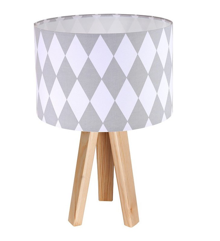 Lampa stołowa Diamante trójnóg abażur biało szare romby