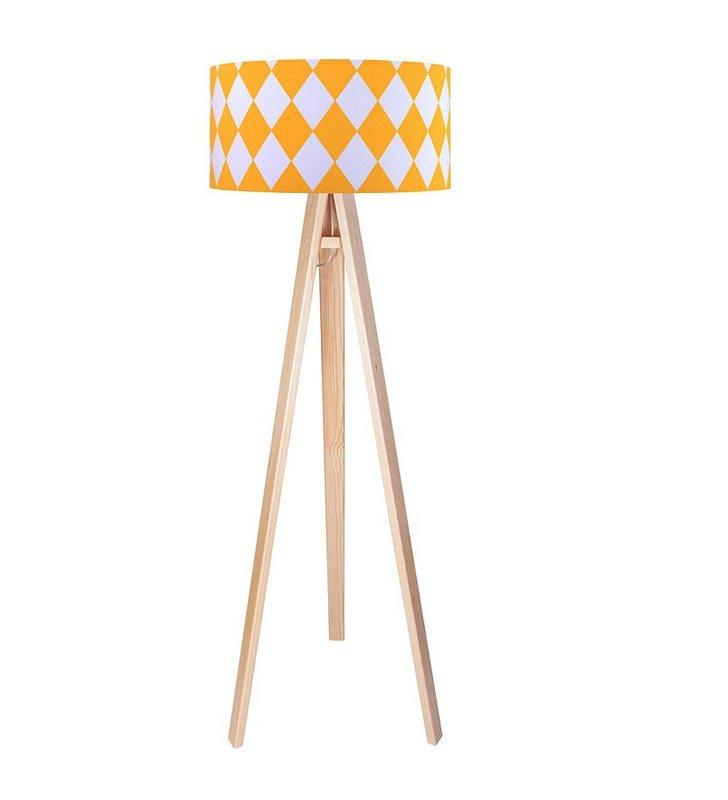 Lampa podłogowa Diamante abażur z bawełny białe żółte romby trójnóg sosnowy