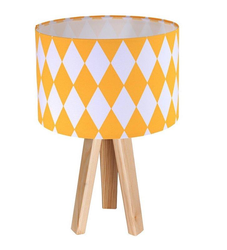 Lampa nocna stołowa Diamante abażur w romby biało żółte 3 sosnowe nogi