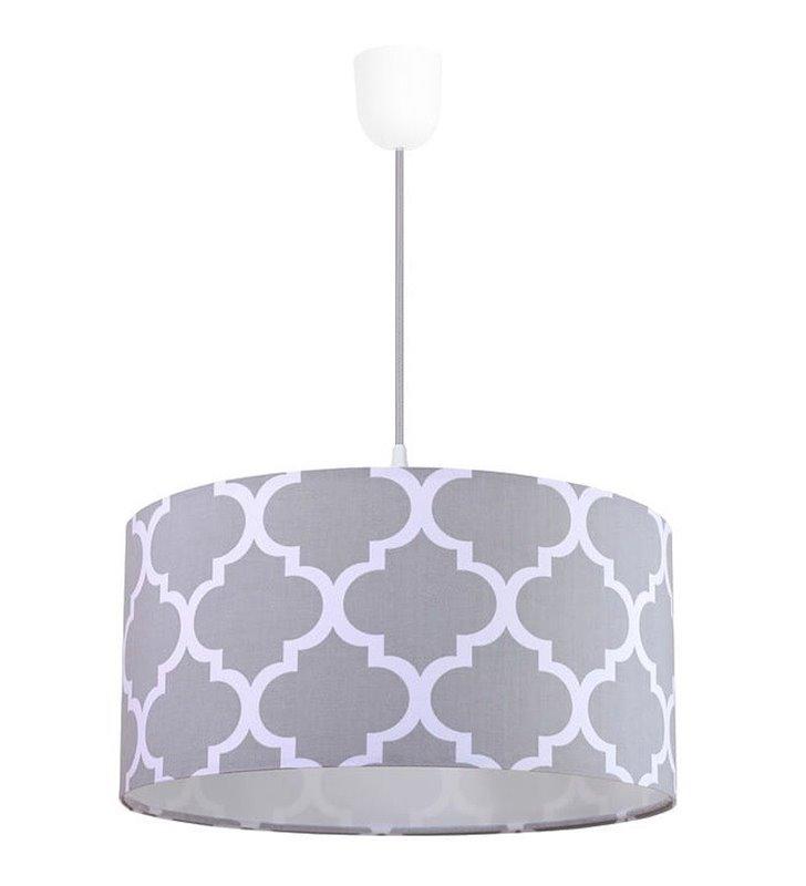 Biało szara lampa wisząca Trebol wzór marokańska koniczyna abażur 50cm