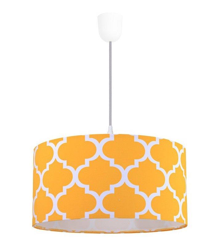 Lampa wisząca Trebol żółta marokańska koniczyna abażur bawełna 50cm
