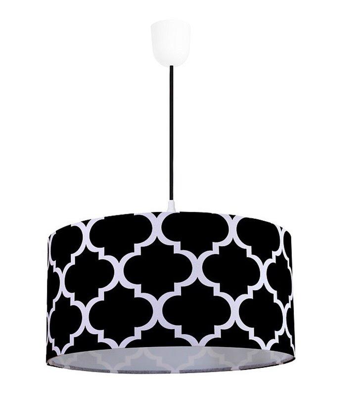 Lampa wisząca Trebol biało czarna wzór marokańska koniczyna abażur bawełna 50cm