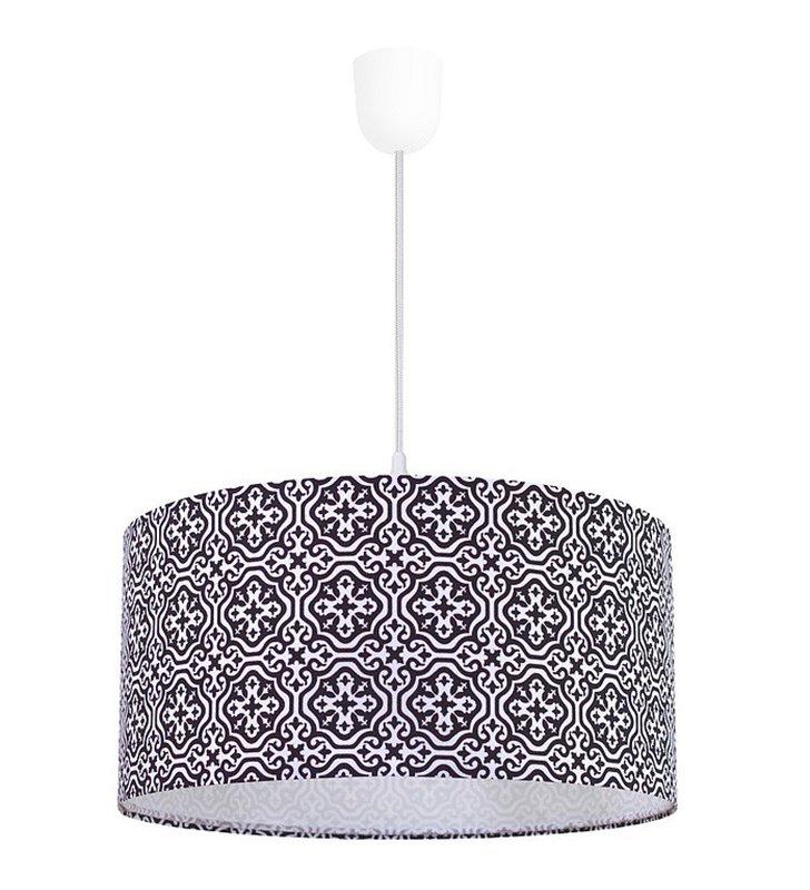 Lampa wisząca Marshall biało czarna wzór marokański abażur bawełna 50cm