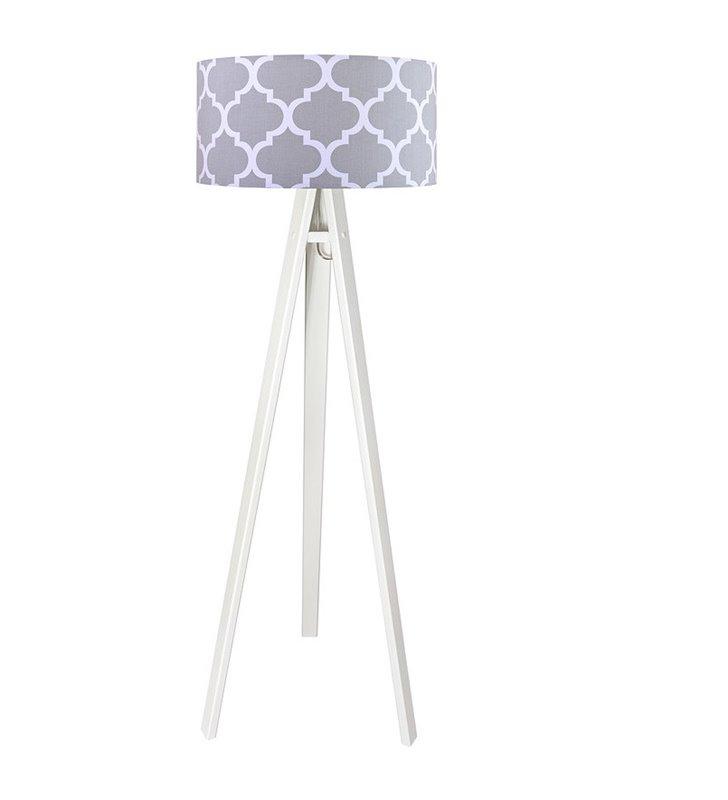 Lampa stojąca na białym lub sosnowym trójnogu Trebol marokańska koniczyna szara