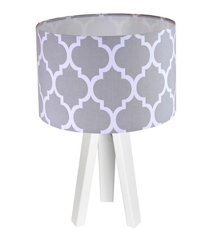 Trebol lampa stołowa na białym lub sosnowym trójnogu abażur szara marokańska koniczyna