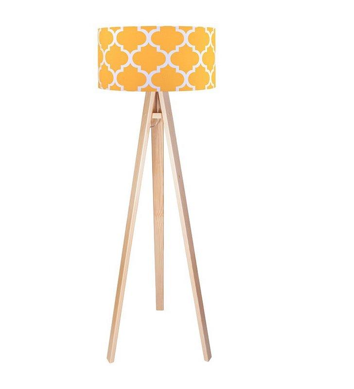 Lampa stojąca na sosnowym lub białym trójnogu Trebol żółta marokańska koniczyna do salonu sypialni pokoju dziecka