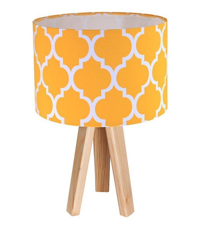 Lampa stołowa Trebol żółta wzór koniczyna marokańska biała lub sosnowa podstawa