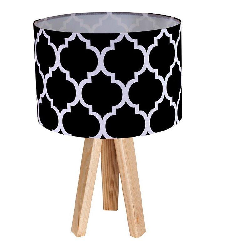 Lampa stołowa Trebol czarna abażur tekstylny wzór wzór koniczyna marokańska trójnóg biały lub sosnowy drewniany