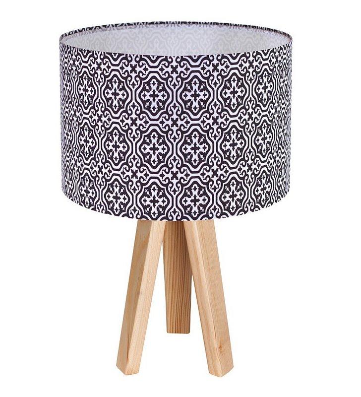 Lampa stołowa Marshall czarno biały abażur tekstylny z marokańskim wzorem