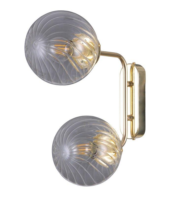 Kinkiet Bartolo złoty nowoczesny 2 punktowy szklane okrągłe klosze