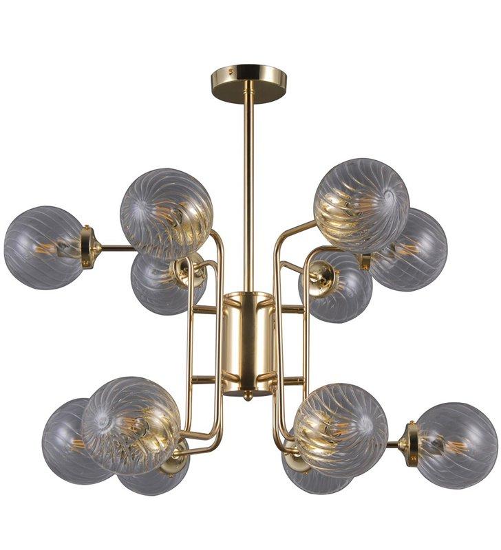Złoty nowoczesny duży żyrandol 12 ramienny Bartolo klosze z bezbarwnego szkła