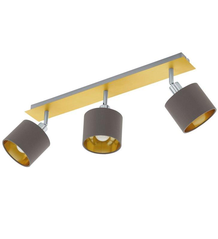Lampa sufitowa Valbiano mosiądz szczotkowany 3 abażury cappuccino do salonu sypialni na przedpokój