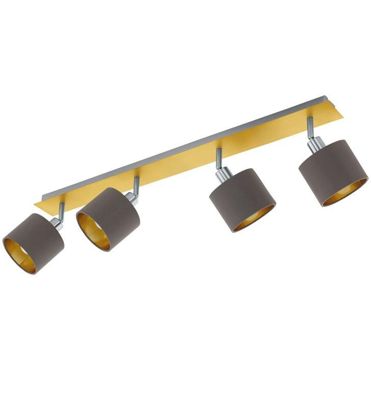 4 punktowa lampa sufitowa Valbiano mosiądz szczotkowany abażury cappuccino do salonu sypialni na przedpokój