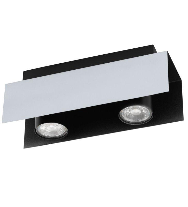 Lampa sufitowa Viserba na 2 żarówki w kolorze białego aluminium z czarnym wykończeniem styl modern