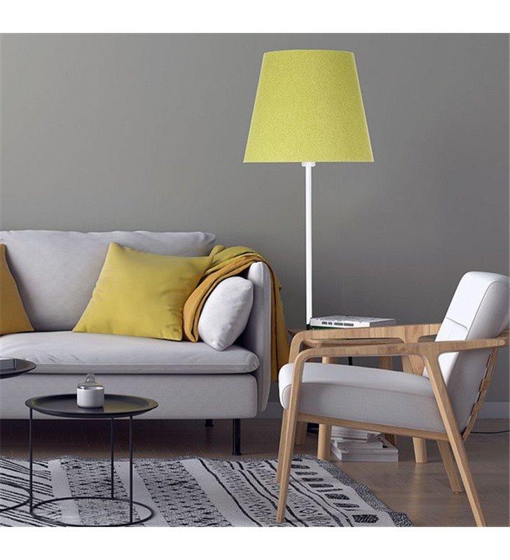 Lampa stojąca Fornax zielona abażur z filcu biała podstawa do salonu sypialni pokoju dziennego