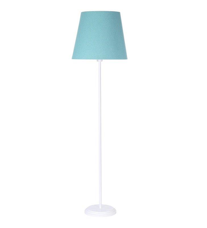 Turkusowa lampa podłogowa Fornax abażur stożek tkanina filc biała podstawa do salonu sypialni pokoju dziennego
