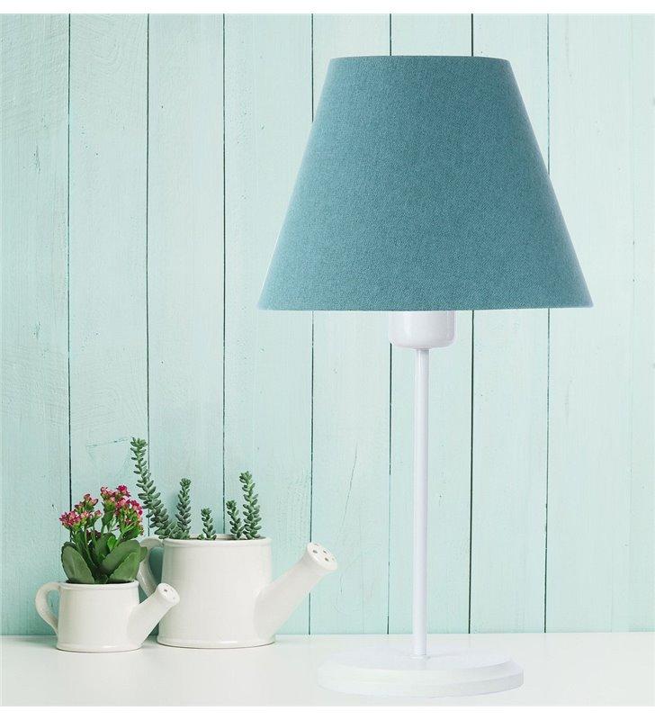 Lampa stołowa Fornax turkusowa abażur z tkaniny filcowej biała podstawa