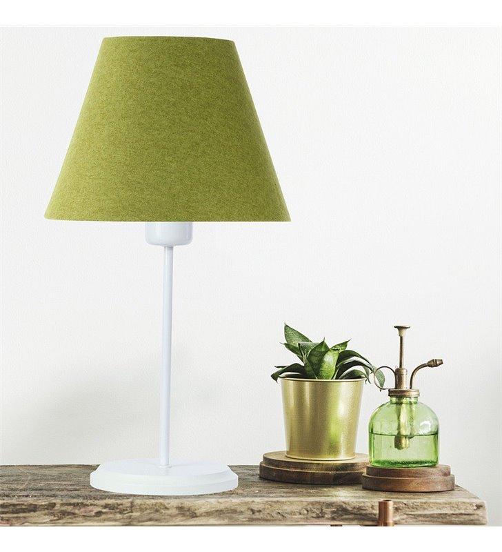 Biało zielona lampa stołowa Fornax abażur z tkaniny filcowej do salonu sypialni na komodę