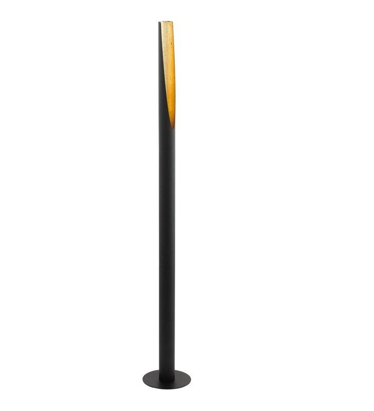 Lampa podłogowa Barbotto tuba walec nowoczesna czarno złota wąska włącznik podłogowy nożny