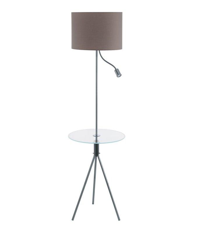 Lampa podłogowa Policara ze stolikiem 2 punkty świetlne abażur taupe idealna do czytania