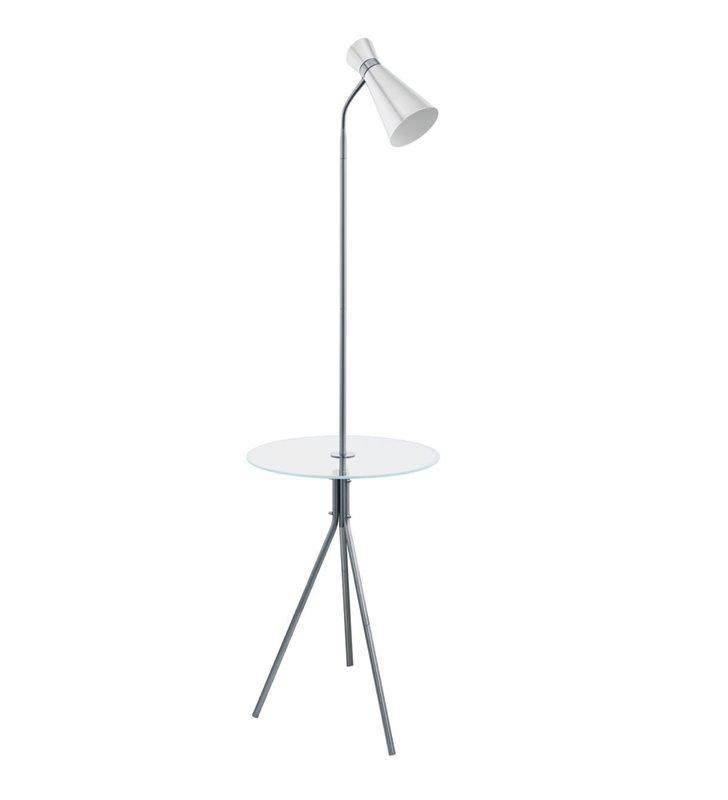 Metalowa lampa podłogowa Policara ze szklanym stolikiem np. do sypialni salonu na korytarz
