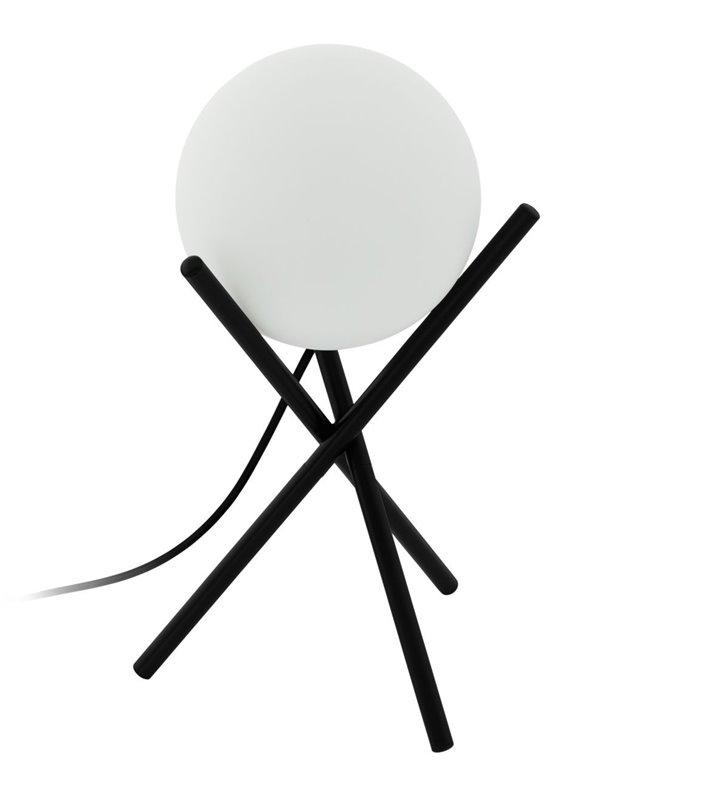 Lampa stołowa Castellato czarna z okrągłym matowym szklanym kloszem