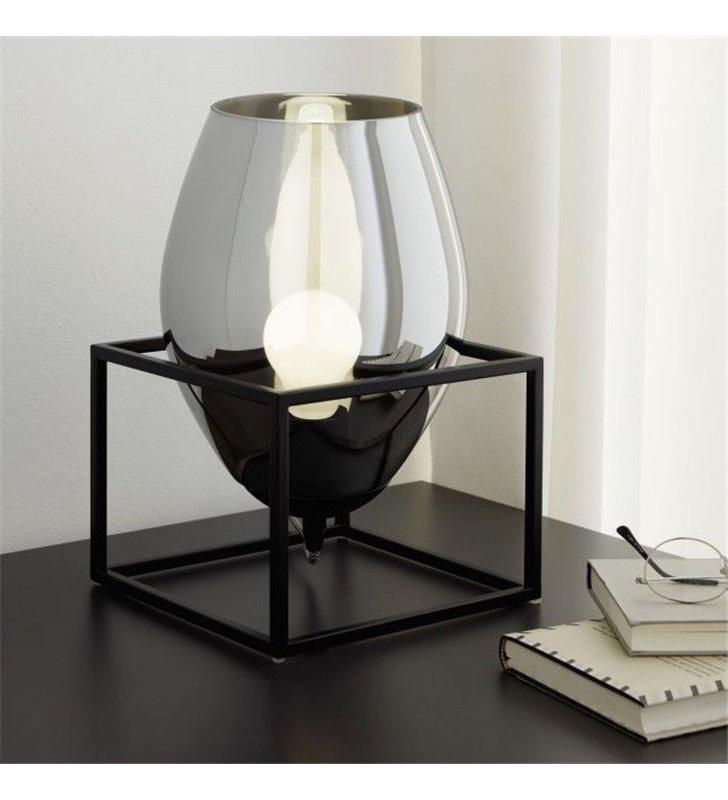 Lampa stołowa Olival1 czarna metalowa konstrukcja szklany klosz czarny transparentny