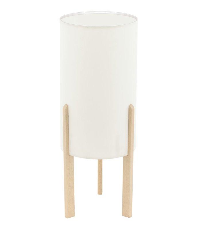 Lampa stołowa Compodino w stylu eko drewniana podstawa beżowy abażur 40cm