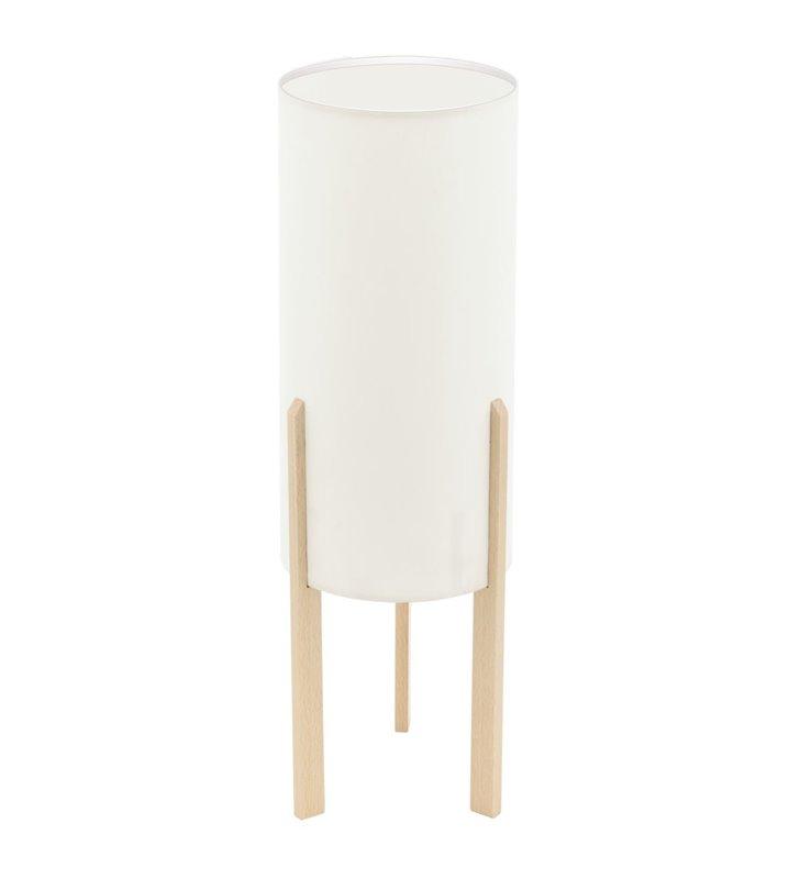 50cm beżowa lampa stołowa na drewnianych nogach Compodino styl eko skandynawski