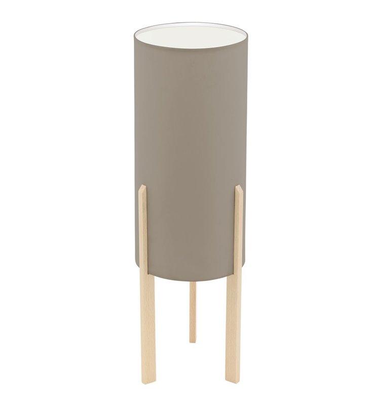 Lampa stołowa na drewnianych klonowych nogach Compodino styl eko skandynawski abażur tekstylny taupe