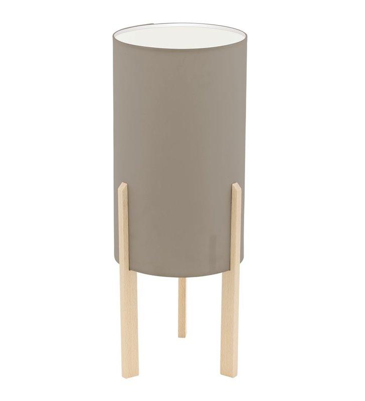 Lampa stołowa Campodino drewniane klonowe nogi abażur tekstylny taupe