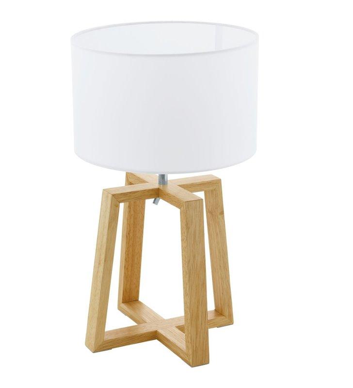 Lampa stołowa Chietino1 drewniana podstawa biały okrągły abażur styl skandynawski