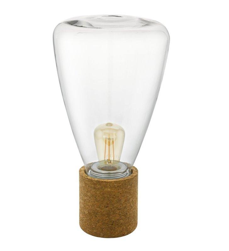 Szklana bezbarwna lampa stołowa Olival z korkową podstawą