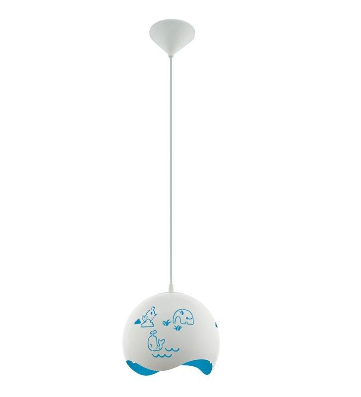 Lampa wisząca Laurina niebiesko biała ze zwierzątkami