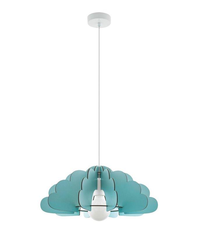Miętowa lampa wisząca do pokoju dziecka Chieti drewniana chmurka
