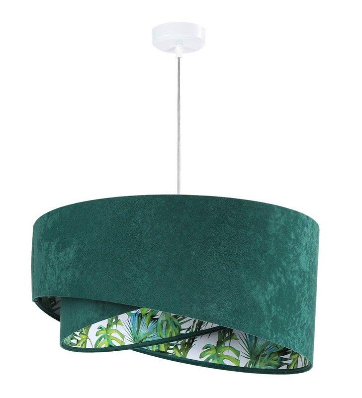 Welurowa zielona lampa wisząca z kolorowym środkiem Braga średnica 50cm