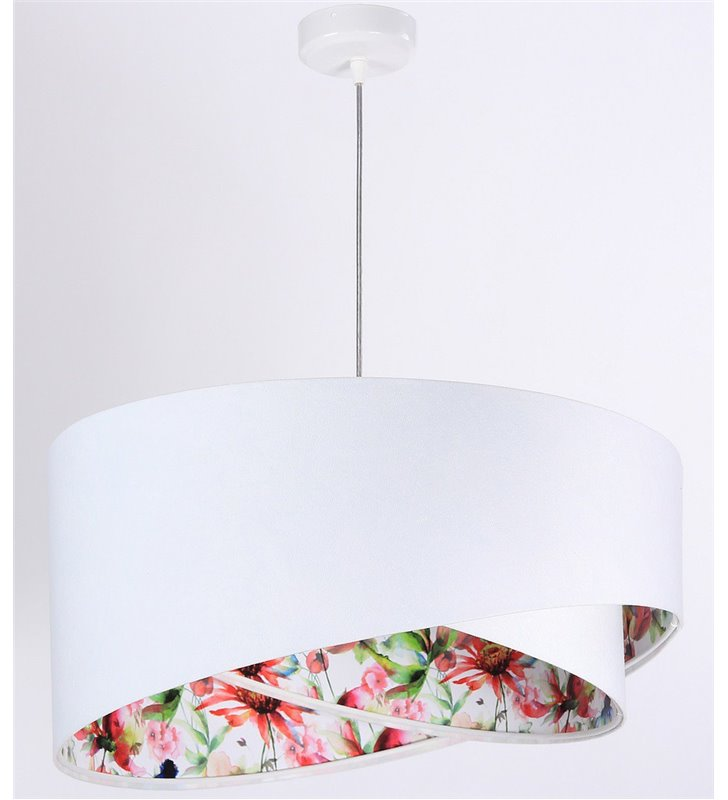 Lampa wisząca Lizbona biała z weluru kolorowy środek średnica 50cm asymetria