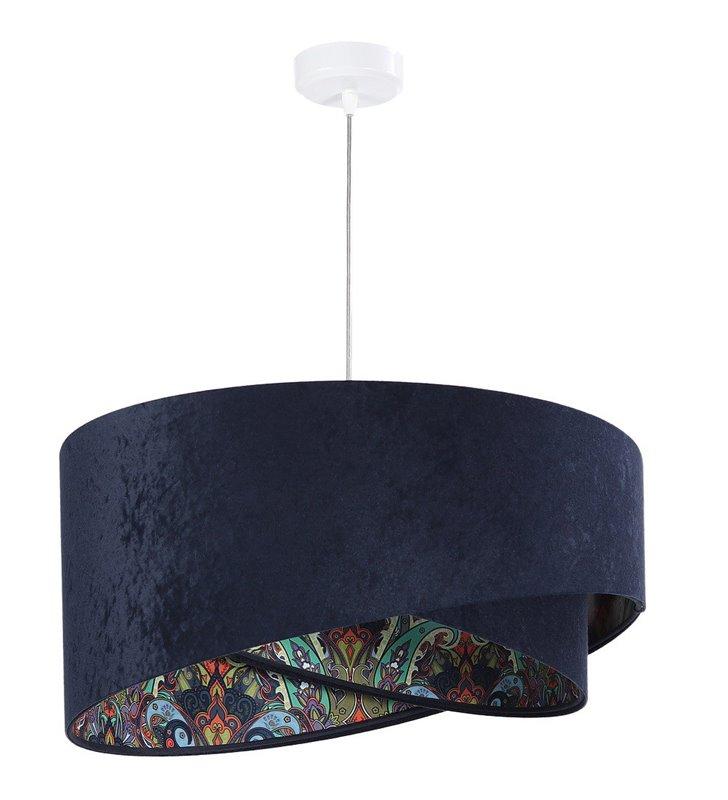 Granatowa lampa wisząca z weluru Setubal kolorowy środek abażura do salonu sypialni jadalni