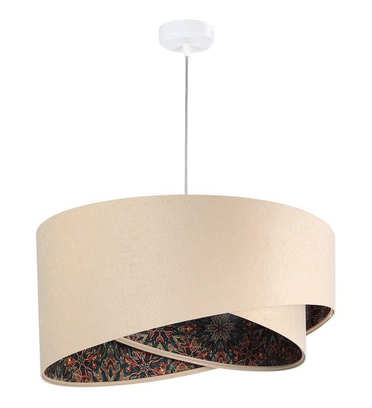 Lampa wisząca Funchal beżowa 50cm abażurowa z weluru kolorowe dekoracyjne wnętrze do salonu sypialni jadalni