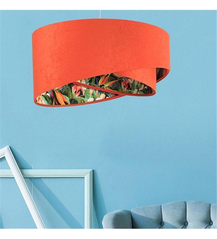 Asymetryczna welurowa lampa wisząca Abrantes czerwony abażur z wielobarwnym wnętrzem