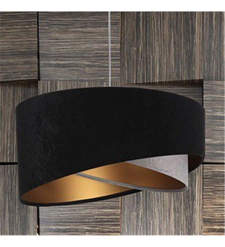 Abażurowa asymetryczna welurowa lampa wisząca Augusta czarno szara złote wnętrze