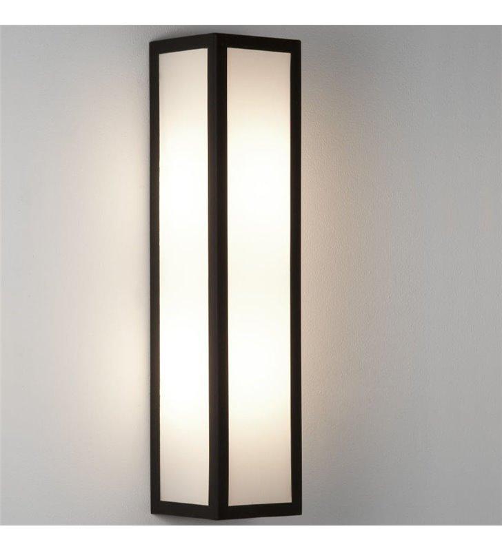 Czarny prostokątny kinkiet łazienkowy Salerno LED