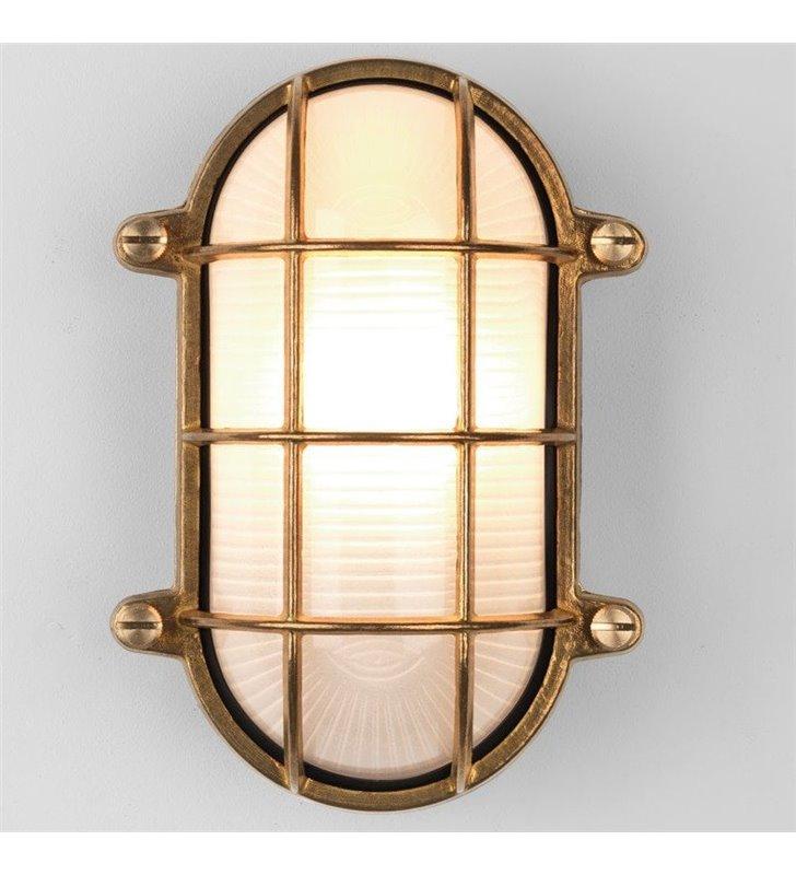 Lampa łazienkowa Thurso mosiądz naturalny styl vintage morski
