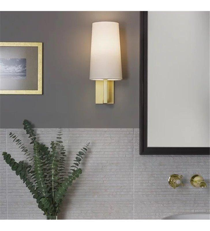 Złoty kinkiet łazienkowy do lustra ze szklanym kloszem Riva IP44 żarówka