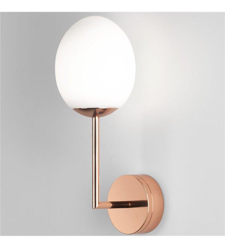 Miedziany kinkiet łazienkowy do lustra Kiwi szklany klosz IP44