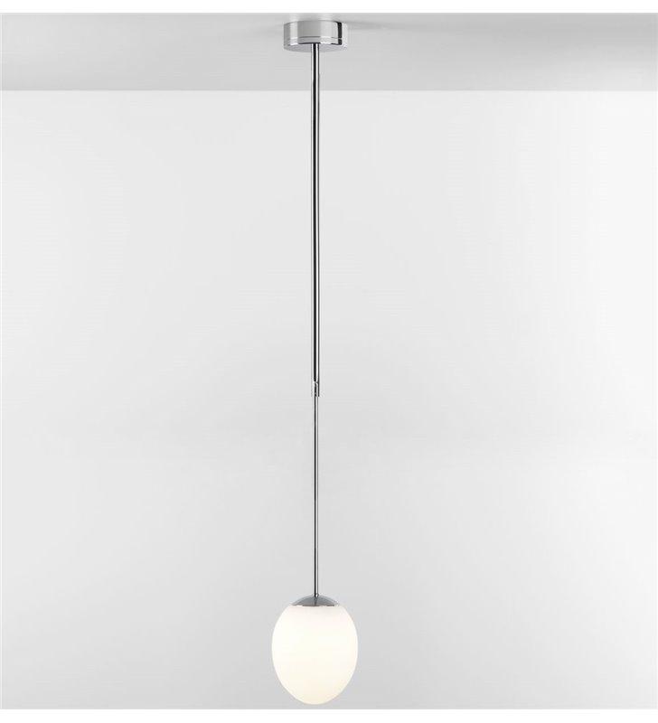 Lampa sufitowa wisząca do łazienki z regulacją wysokości sztywne zawieszenie Kiwi chrom polerowany IP44 LED